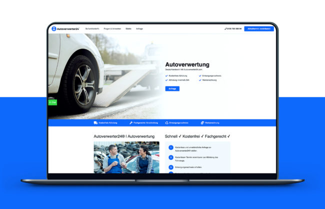 Autoverwerter24 Website Referenz